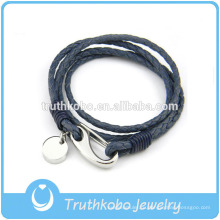 Оптовая женская кожаный браслет с из нержавеющей стали Омара застежками с круг ручной работы кожаный браслет