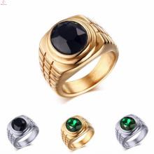 Heißer Verkaufs-Edelstahl-Gold überzog Kronen-Ringe mit Diamant-Steinen
