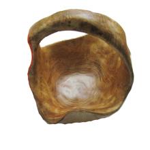 Bol en bois naturel sculpté primitif antique avec poignée