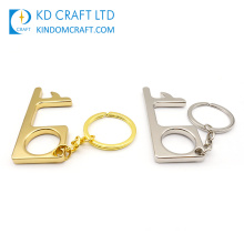 Door Handle Tool Sanitary Germ Free Stylus Antimicrobial Non-Contact Touch Free Brass EDC Hygiene Hand Door Opener Key Chain