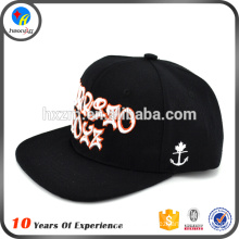 100 acrylic flat brim embroidered snap back hat
