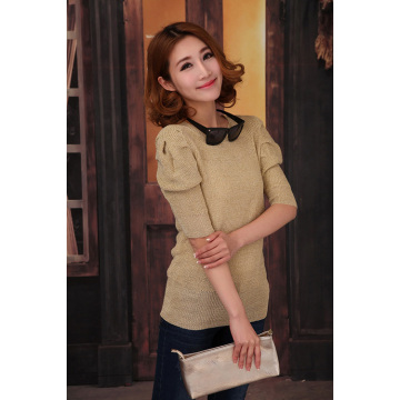 Women Pleat Sleeve Casual Pure Color Knitwear