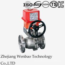 Válvula de esfera de aço inoxidável flangeada motorizada 2PC com atuador elétrico