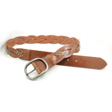 Hot Sales and High Quality Weave Leather Belt Ky6194