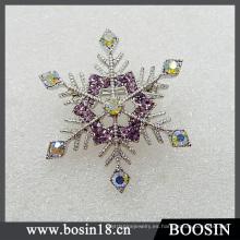 Broche de diamantes de imitación de copo de nieve femenina de moda # 5203