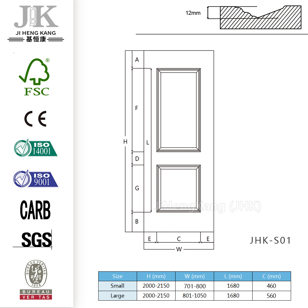 JHK-Morbidezza Classical Bubingga Natural Door Skin