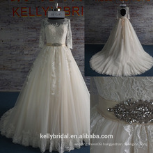 KB17287 Latest New Design Long Sleeves Wedding Gowns Puffy A Line Skirt Wedding Dress High Quality Lace Applique Bridal Gowns