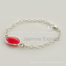 Proveedor al por mayor para piedra de calcedonia pulsera de plata de piedras preciosas para regalo de Navidad