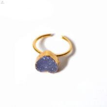 Coração Natural de Cristal Aberto Druzy Raw Stone Ring