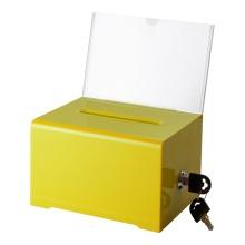 Caja de donación de dinero de colores