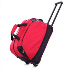 New Design Ladies Polyester Red Tote Duffle Travelling Trolley Bags Luggage Unisex Customized Logo Bag With Wheels