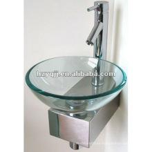 Pequeña esquina clara lavabo de cristal montado en la pared