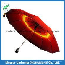 Fashion Yellow Plaid 3 Fold Gift Sun / Rain Compact Umbrella