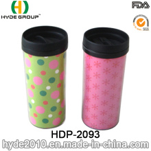 Taza de café plástica portátil del viaje de la pared doble 2016 (HDP-2093)