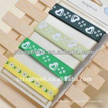 ribbon Printed silk ribbon green color