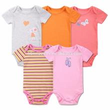 Heißer Verkauf Bio-Baumwolle gestrickt orange grau rosa rot bunten Streifen Harem Strampler leere Plain Jumpsuits stricken Baby Strampler