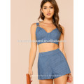 Striped Zip Up Crop Top con pantalones cortos a juego conjunto Fabricación venta al por mayor mujeres de moda Apparel (TA4087SS)