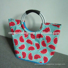 Cheap shopping bags,Promotional Print Logo Aluminum 600D Polyester Shopping Bag