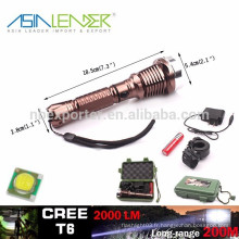 T6 10w 2000 Lumens puissante lampe de poche LED avec 18650 batterie boîte cadeau emballé