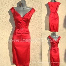 NWT 40s/50s WW2 Red Satin Wiggle Pencil Dress GP003