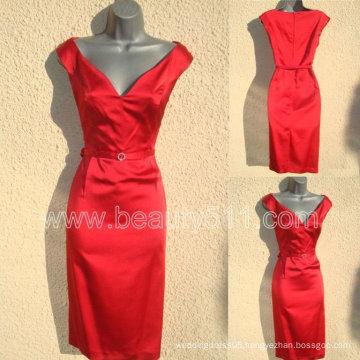 NWT 40s/50s WW2 Red Satin Wiggle Pencil Dress GP003