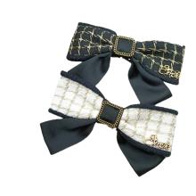 New Fabric Plaid Black White Big Hair Barrettes Bow Knot Fashion Accessories Hairpin Korean Spring Clip