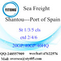 Shantou Port Sea Freight Shipping ke Port of Sepanyol