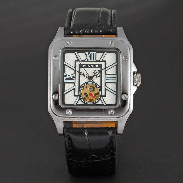 classical square watch with small dial winner alloy case mechanical watch