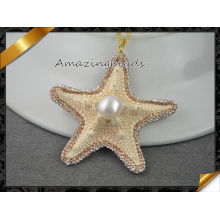 Natur Starfish Perle Anhänger, mit glänzendem Kristall Rhinestone Halskette Anhänger Schmuck, Shell Anhänger (EF097)