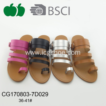 Latest Ladies Pu Fashion Flat Slippers