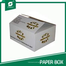 Logotipo branco caixa impressa do transporte do bloco da carne do produto comestível