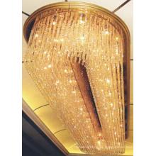 Candelabro de cristal luxuoso da lâmpada do teto da entrada do hotel