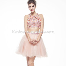OEM Fornecedor Mais Recente Halter Mini Elegante Frisado Vestido De Noite Para As Mulheres