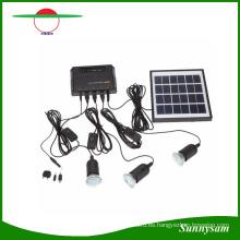 Kit de sistema de iluminación del panel solar de 4W Cargador de USB con 3 piezas Bombilla de luz para la lámpara de seguridad de emergencia de camping Countryard Camping
