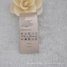 Rótulo lavável e com cuidado de creme de cor / tamanho, etiqueta de composição para vestuário