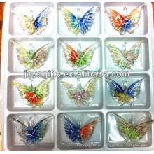 Art Lampwork Colgante de mariposa de vidrio con doble color