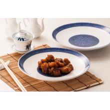 Melamin Blau und Weiß Geschirr / Melamin Runde Platte (13827-10)