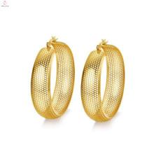 Pendientes de oro con círculo grande, aretes redondos de malla de oro