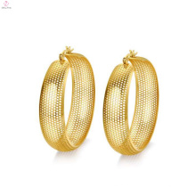 Brincos de malha de ouro grande círculo, grande rodada brincos de malha de ouro
