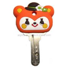 Soft PVC chave tampa com logotipo dos desenhos animados