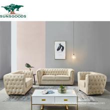 Luxury Classic European Leather Leisure Wood Frame Living Room Furniture Sofa Set