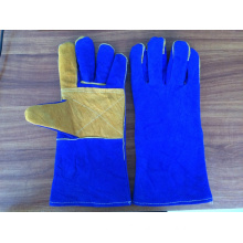 blue color 14 inches cow split leather gloves with reinforced palm