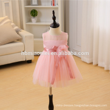 2017 new fashion pink color infant baby birthday baptism girl dress for baby girls birthday