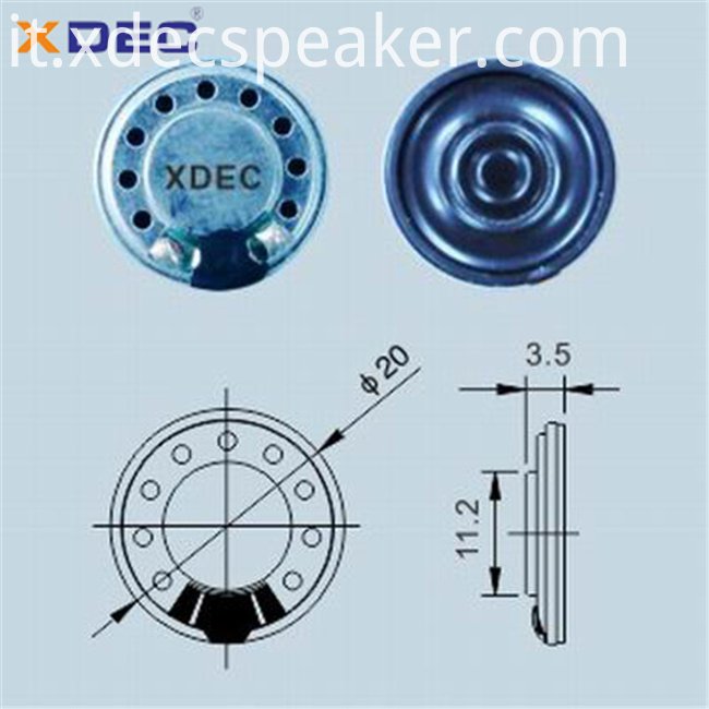20mm 8ohm 1w waterproof loud sound digital photo frame speaker