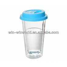 Heißer Verkauf 2014 Neue Produkte Werbegeschenk Silikon Deckel Doppelwandige Glas Tassen Pyrex Tassen