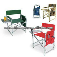 Portable folding foldable sport director chair with side tea table and magazine bag