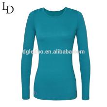 Оптовая дешевые равнине сексуальный плотный с длинным рукавом женщин T рубашка