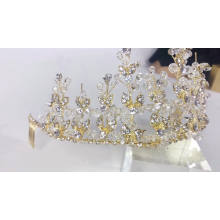 Hot sale princess ornaments Handmade Wedding Dress Bride beautiful Rhinestone luxury tiara crystal beaded crown comb