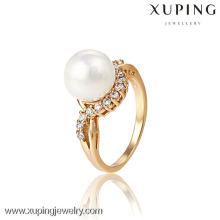 13189- Xuping belo design de anel de ouro de jóias de pérola com alta qualidade