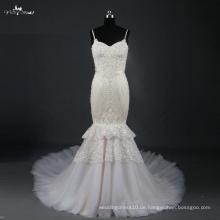 LZ169 Hochzeitskleid Aliexpress schweres bördelndes langes Zug-Nixe-Hochzeits-Kleid